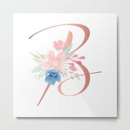 Monogram Copper Floral Letter B Metal Print