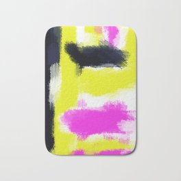 pink yellow and black painting abstract with white background Bath Mat