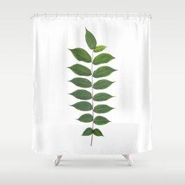Green Leaf Botanical Print Shower Curtain