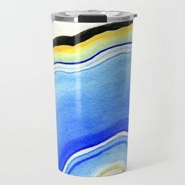 Blue Watercolor Agate Travel Mug