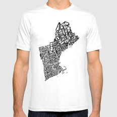 Typographic New England White MEDIUM Mens Fitted Tee