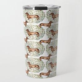 Dachshund Sausage Dog Print Botanical Travel Mug