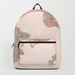 Rosegold Marble Map of the World Backpack