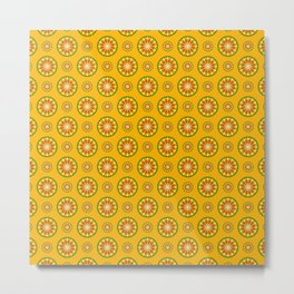 Orange Crush Retro Sunburst Print Seamless Pattern Metal Print