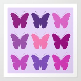 Butterly Silhouettes 3x3 Pinks Purples Mauves Art Print