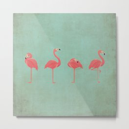 Vintage Kitschy Flamingo Lineup on Tiffany Blue Metal Print