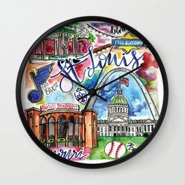 St. Louis Skyline Watercolor Wall Clock