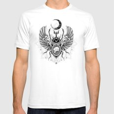 Sacred Scarab White SMALL Mens Fitted Tee