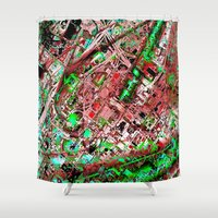 los angeles Shower Curtains featuring los angeles by donphil
