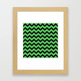 Chevron (Black & Green Pattern) Framed Art Print