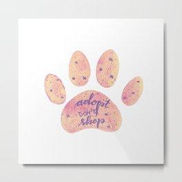 Adopt don't shop galaxy paw - pastel pink and ultraviolet Metal Print