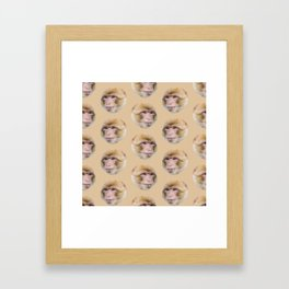 funny cute japanese macaque monkey pattern Framed Art Print
