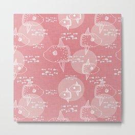 Mola Mola Pink-Ocean sunfish Metal Print