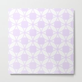 Geometric Circles In Delicate Pale Lilac and White Metal Print