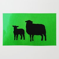 sheep Area & Throw Rugs featuring Sheep by Brontosaurus