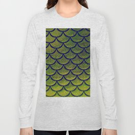 Chartreuse Cobalt Scales Long Sleeve T-shirt