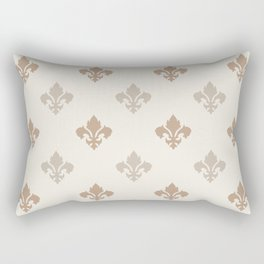 Fleur de lis Pattern – Neutral Brown and Biege Earth Tones Rectangular Pillow