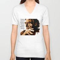 bukowski V-neck T-shirts featuring Charles Bukowski - quote - sepia by ARTito