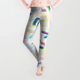 Pastel Rainbow Worms 1. Leggings