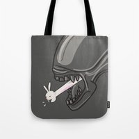 alien Tote Bags featuring Alien?! by Matisse Lin