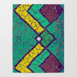 Green, yellow and brown mosaic figure #Terrazzo #Blobs Poster