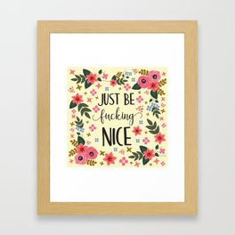 Just Be Fucking Nice, Funny, Quote Framed Art Print