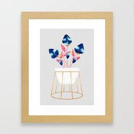 Blue Strawberry Flowers Framed Art Print