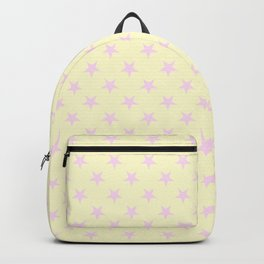 Pink Lace on Cream Yellow Stars Backpack