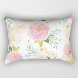 Sweet Pink Blooms (Floral 02) Rectangular Pillow