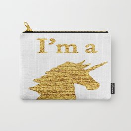 I'm a  Unicorn Head Photo in Gold Carry-All Pouch