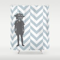 sci fi Shower Curtains featuring Sci-Fi Geek by Jade Deluxe
