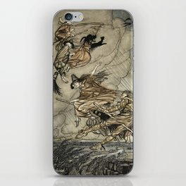 """Four Witches """"Up The Chimney"""" by Arthur Rackam iPhone Skin"""