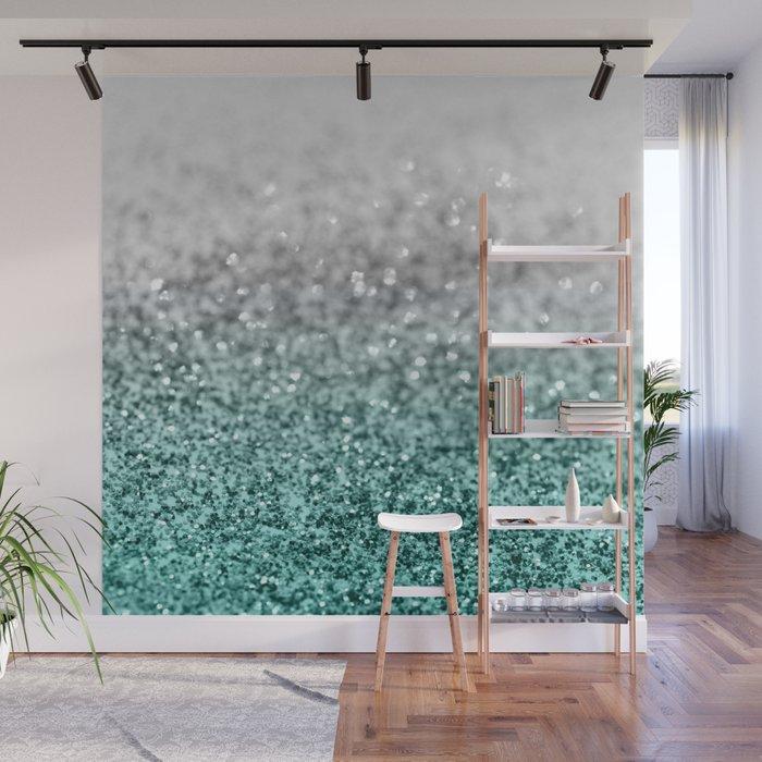 Silver Teal Ocean Glitter Glam 1 Shiny Decor Art Society6 Wall Mural By Anitabellajantz