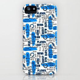Gamer Lingo-White and Blue iPhone Case