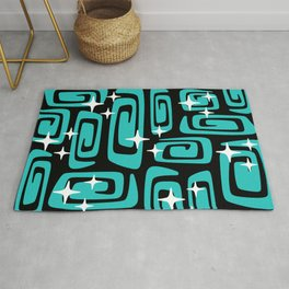 Mid Century Modern Cosmic Galaxies 435 Black and Turquoise Rug