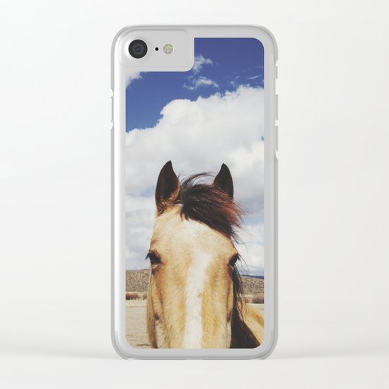 Cloudy Horse Head Clear iPhone Case