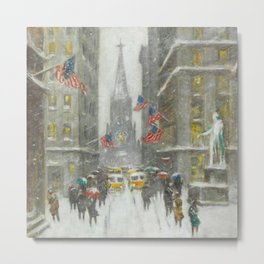 Wall Street and the Sub-Treasury winter landscape painting by Guy Carleton Wiggins Metal Print