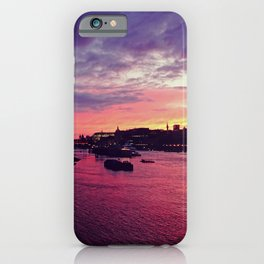 Golden hour over the Thames river in London - Travel Photography iPhone Case