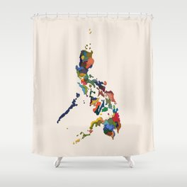 +63 / Map of the Philippines Shower Curtain