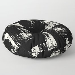 Black and white design with bold brushstrokes Floor Pillow