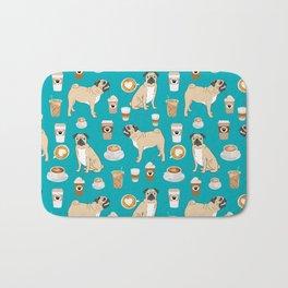 Pug coffee pupuccino dog breed cute pugs pure breed lovers gifts Bath Mat