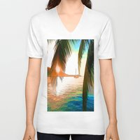 paradise V-neck T-shirts featuring Paradise by Robin Curtiss