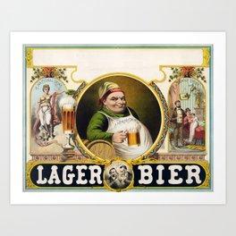 Vintage Lager Beer Advertisement Art Print