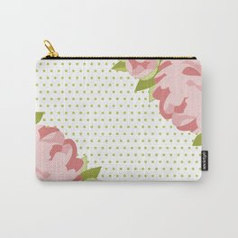 Peonies & Polka Dots Carry-All Pouch