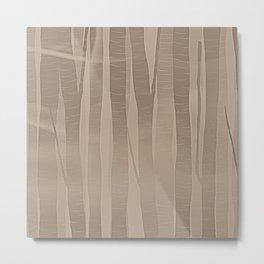 Woodland -  Minimal Beige Birch Forest Metal Print