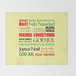 merry christmas in different languages I Throw Blanket