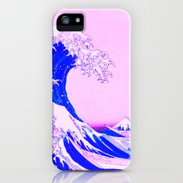 the great wave remix in baby pink and blue iPhone Case