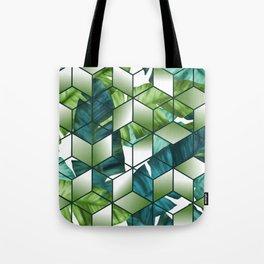 Tropical Cubic Effect Banana Leaves Design Tote Bag