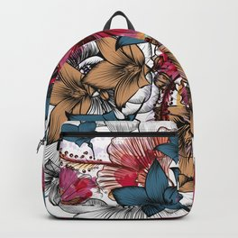 Tropical pattern with hibiscus flowers. Hawaii style watercolor Backpack