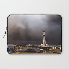 Oil Rig - Storm Passes Behind Derrick in Central Oklahoma Laptop Sleeve